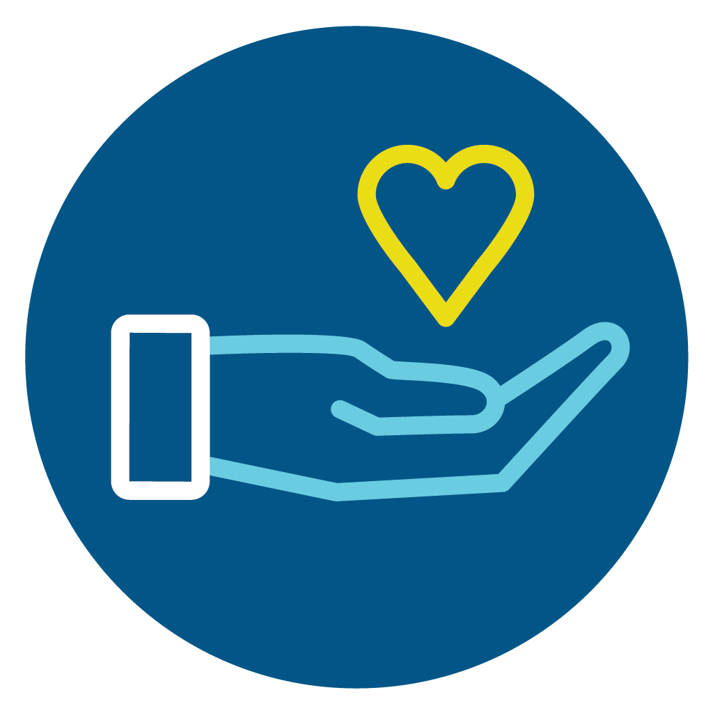 line icon symbolizing the gift of salvation person's hand holding a heart